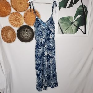 Lulus Blue Tropical Palm Leaves Culottes Jumpsuit